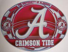 "Stained Glass Window Sticker NCAA Alabama Crimson Tide NEW 17""x11"" Made in USA"