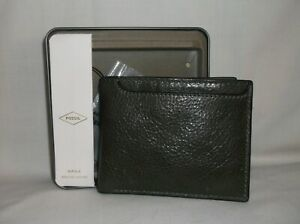 NIB* FOSSIL ~ MENS CEMENT LEATHER MORRIS LEATHER BIFOLD WALLET