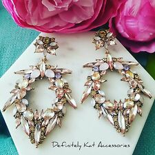 Large statement peach pink crystal wreath marquise cocktail chandelier earrings