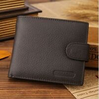 Luxury Men Soft Business Leather Bifold Wallet Credit Card ID Holder Purse Brown