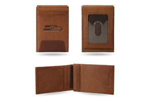 Seattle Seahawks Premium Leather Front Pocket Wallet Magnetic Money Clip NWT