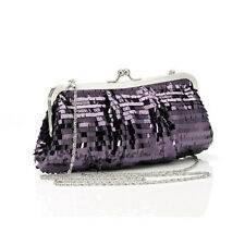 Purple Sequined Clutch Bag