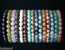 Wholesale 10 Genuine GEMSTONE Beads 7.5 inches Crystal Healing Stretch Bracelets