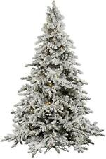 Vicker Company 4.5' FT Flocked Utica Fir White Lights Christmas Tree MSRP $430