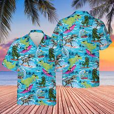 Dinosaur Surfing beach Hawaiian Shirt For Men Full Size S-5XL