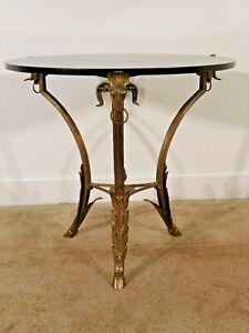 ANTIQUE French Bronze Ramsheads & Cloven Feet Black Granite Top Gueridon Table