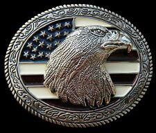 BOUCLE DE CEINTURE AMERICAN USA FLAG GLORY STARS STRIPES BALD EAGLE BELT BUCKLE