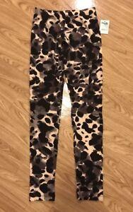 NWT Women's Charlotte Russe Patterned Print Leggings Black Cream Grey Small S