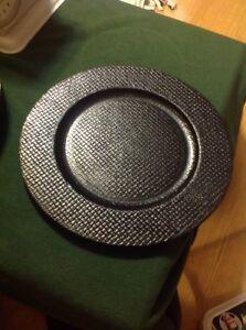"Decorative Black Plates, Home Decor Dish For Table Decor - 13"""