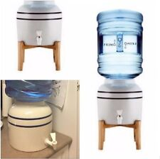 Ceramic Water Dispenser Cooler With Wooden Stand 3-5 Gallon Bottle Holder Faucet