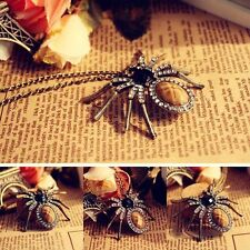 Retro Bronze Necklace Sweater Chain Crystal Beads Spider Pendant
