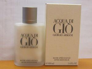Acqua Di Gio By Giorgio Armani  Men 3.4 oz After Shave Balm NEW IN BOX