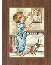 """Catholic Print Picture Little Boy Adoring Blessed Mother 7x9"""""""