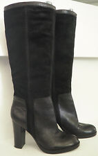 "NINE WEST Emilio Black Leather & Suede Tall Pull on Boots with 4"" heel - Sz 8.5"
