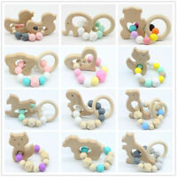 Wooden Animal Teether Baby Teething Bracelet Chewable Silicone Beads Rattle Toys