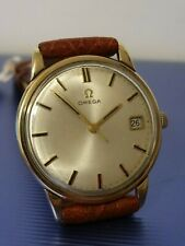 9CT GOLD GENTS OMEGA MANUAL WIND DATE WRISTWATCH LONDON 1965 BOXED WORKING