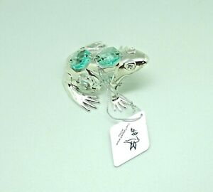 Figurine/Ornament- FROG Austrian Crystals- silver plated- clear light blue