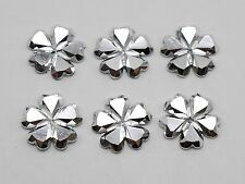 200 Silver Flatback Acrylic Glitter Faceted Flower Cabochons Gems 12mm No Hole