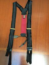Trafalgar Suspenders Black White Gray Stripe Leather Attachment
