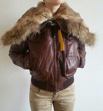 100% Authentic parajampers braun Leder Damen Parka Jacke Size S Retail $1649