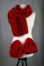 P391/71 Hand Knit Wool Melange Red Scarf Wrap Shawl and Two Hats Set