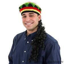 2- Bob Marley Reggae Jamaican Style Rasta Hat Dreadlocks Wig Caribbean Beret Cap