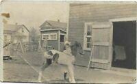"""Vintage Post Card c.1900's """"Girl Pony Barn Farm"""