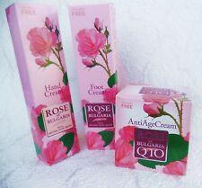 BioFresh ROSE of Bulgaria set:Face AntiAgeCream with Q10 +Hand cream+Foot cream