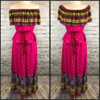 Flying Tomato Pink Green Blue Print Off Shoulder Top & Maxi Skirt Dress S/M
