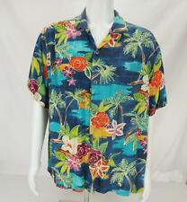 VTG Jams World Hawaiian Floral Print Short Sleeve Button Up Shirt Blue Men's XL