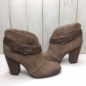 """BCBG Kerinax Booties 38.5 / 8.5M Taupe Suede Buckle Leather Strap 4"""" Heel"""