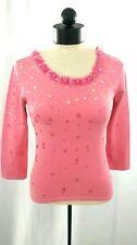 TALBOTS Women P Medium Pink Silk Blend 3/4 Sleeve Beaded Scoop Neck Sweater