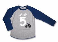 LA Geburtstagsshirt * Ich bin 5 * Wahl: MOTIV, WUNSCHNAME Grau/Blau ! NEU !