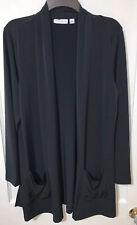 Susan Graver black liquid knit long sleeve cardigan shrug Size Medium CAREER