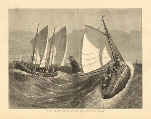 """Lifesaving, Rescue, """"Our Seamen"""" - Trial Of The New Life & Surf Boats 1874 Print"""