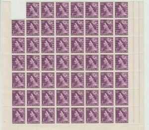 Stamps 1953 Australia 1d violet QE2 bottom left hand part pane of 55 perf pip