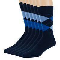 Mens Combed Cotton Argyle Crew Dark Blue 6 Pack Dress Comfortable Casual Socks