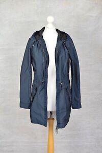 ARMANI JEANS £320 Navy blue lightweight hooded zip up rain jacket SIZE 38 6-10