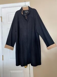 TAHARI Women's Wool Blend Coat Black contrast Tan Size 3X unlined pockets