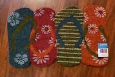 Coastal Flip Flop Shaped Coir Welcome Mat Doormat Front Entry Door Rug NEW