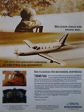 11/1999 PUB SOCATA AEROSPATIALE TBM 700 FLUGZEUG AVION ORIGINAL GERMAN AD
