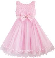 Girls Dress Pink Rose Bow Tie Belt Wedding Birthday Party Kids Clothes Size 2-10