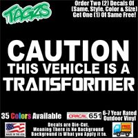 Caution Transformer Funny DieCut Vinyl Window Decal Sticker Car Truck SUV JDM