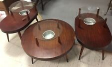 Great Deco 3pc Coffee End Table Set mahogany W/ Glass