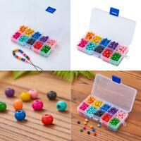 Boîte de Perles Ronde en Bois pour Fabrication Bijoux Multicolore