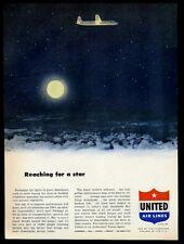 1952 United Airlines plane night flight full moon art vintage print ad
