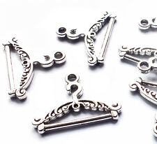 15 Coat Clothes Hanger Rack Charm Pendants, Silver Plated 23mm Sewing Dressmaker