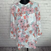 NYDJ Women's White Multicolor Floral Shirt Blouse Tunic Size Small Top