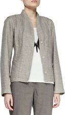 PL EILEEN FISHER Taupe Organic Cotton Linen Basket Weave Stand Collar Jacket NWT