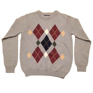 Vintage CLASS CLUB Boys L 12 14 Argyle Sweater Gray Multi Cotton Long Sleeve
